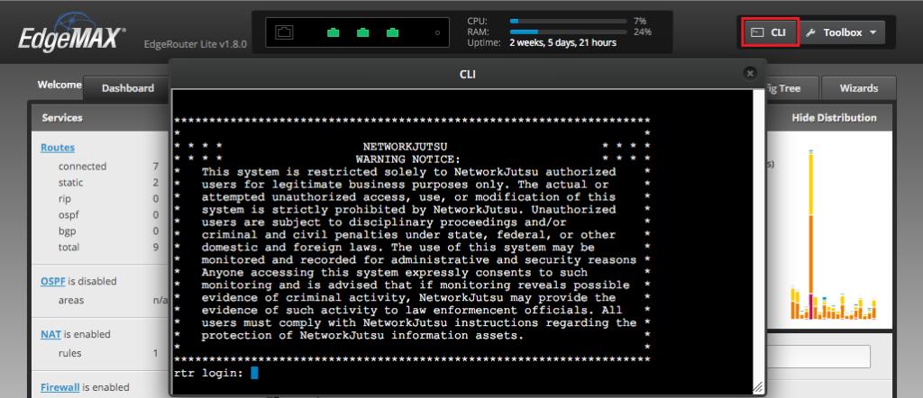 EdgeOS CLI access via Web UI