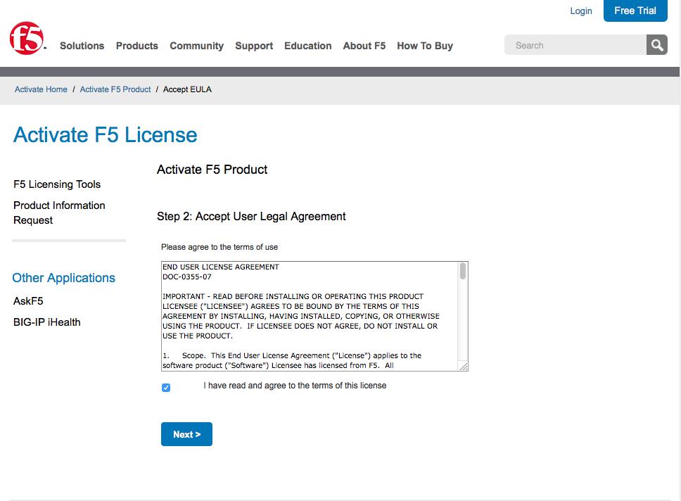 f5 ltm find license activation key